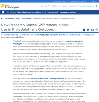 'New Research Shows Differences in Mask Use in Philadelphians Outdoors'
