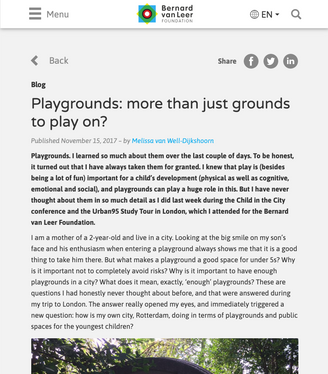 'Playgrounds: More Than Just Grounds to Play On?'