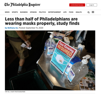 'Less than half of Philadelphians are wearing masks properly, study finds'