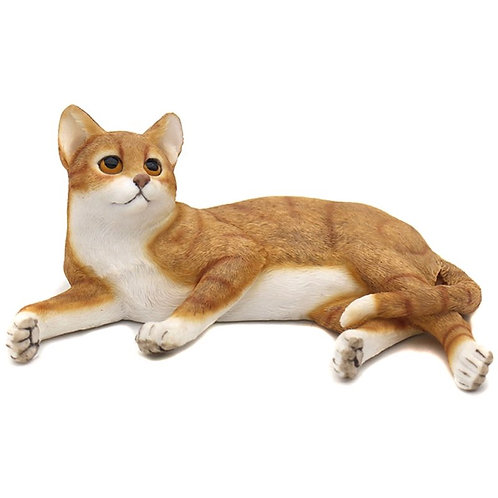 Sitting Ginger and White Cat Figurine