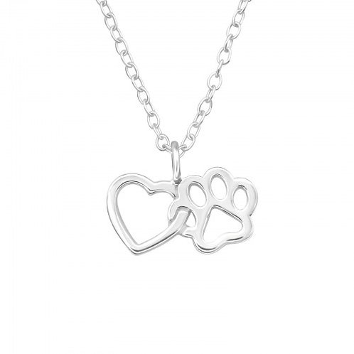 Heart and Paw Plain Silver Necklace