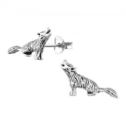 Wolf Plain Silver Ear Studs
