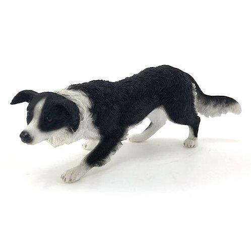 Crouching Collie Dog Figurine