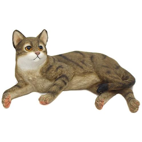 Laying Tabby Cat Figurine