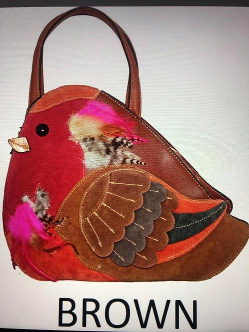 Peacock Bag (Brown & Black Strap)