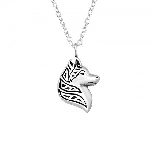 Wolf Plain Silver Necklace