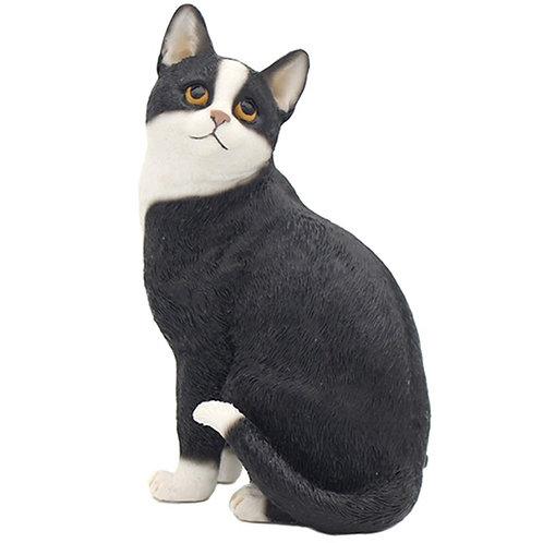 Black and White Cat Figurine