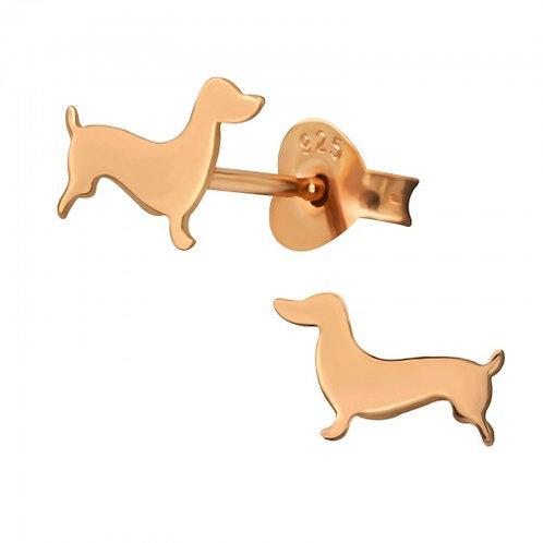 Dog Gold Plain Ear Studs