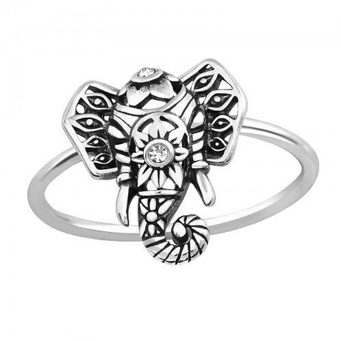 Elephant Plain Silver Ring
