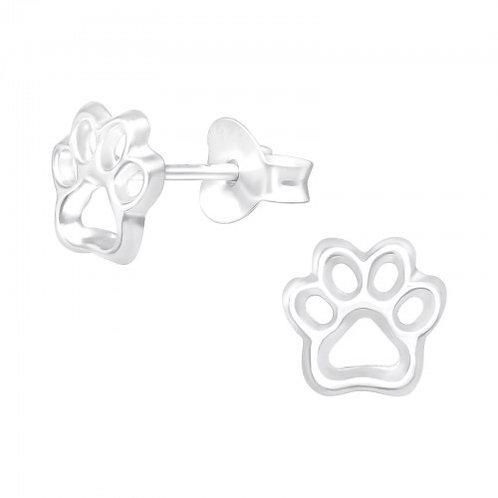 Paw Prints Plain Silver Ear Studs