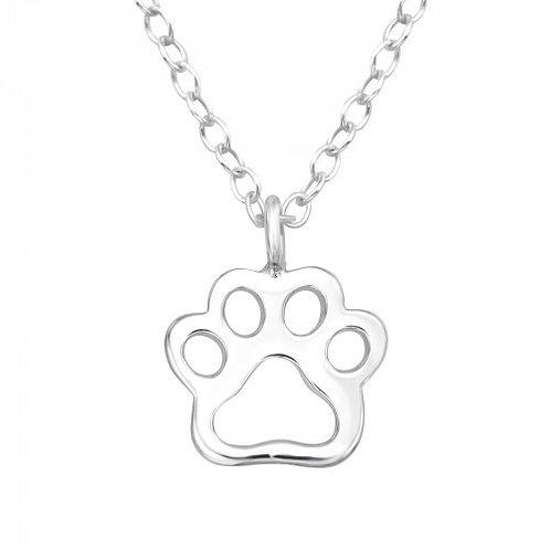 Paw Print Plain Silver Necklace