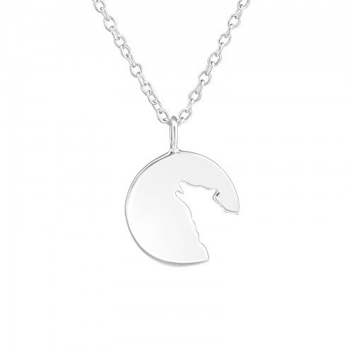 Wolf Necklace Plain Silver