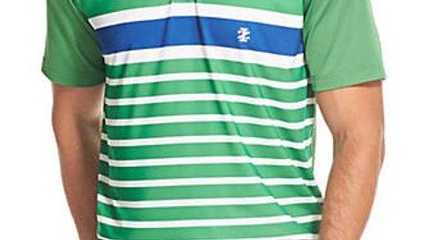 IZOD - Men's SS Print Chest Stripe Green