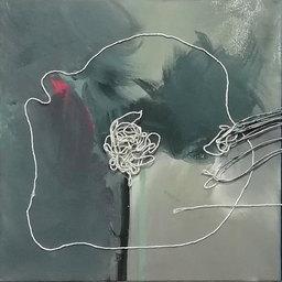 obraz olejny na płótnie, technika mieszana, sznurek format 50 × 150 cm 2021