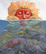 Макак медитирующий в воде с рыбками