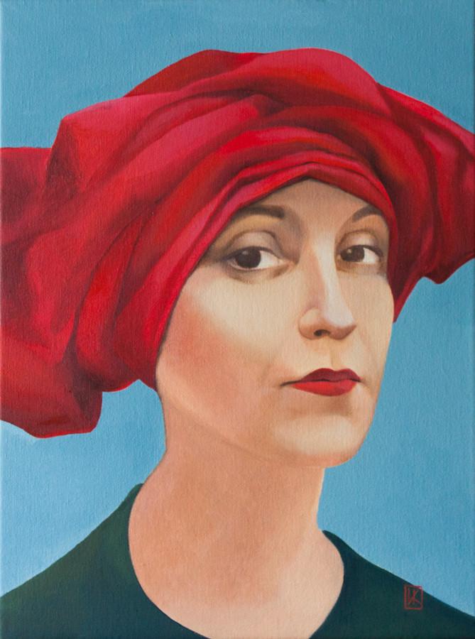 портрет мамы в красном тюрбане