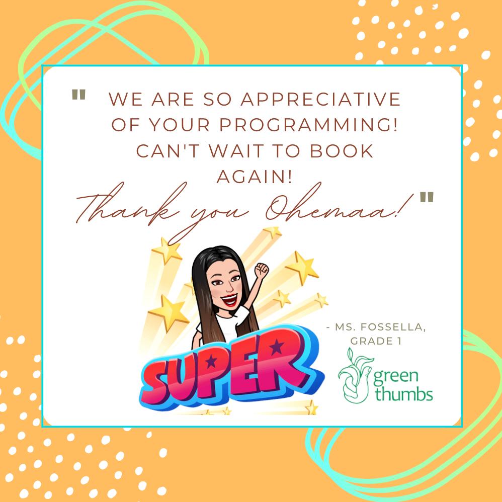 Card of appreciation, with teacher avatar
