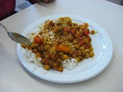 Vegetable jalfrezi with basmati rice