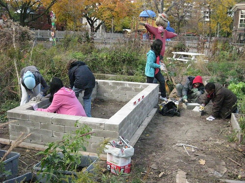 building the earthblock bed