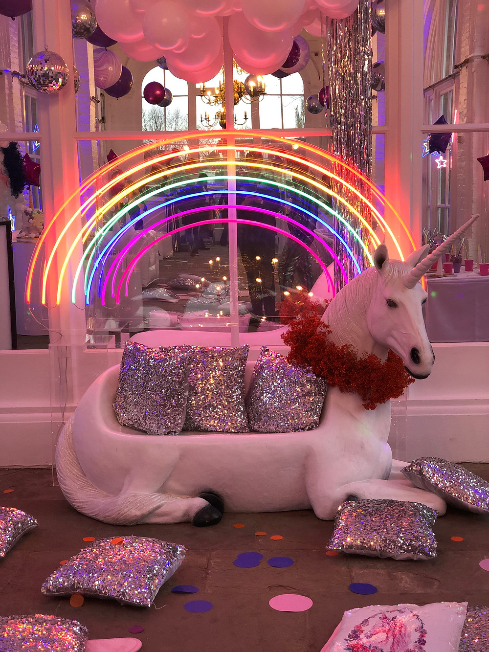 Unicorn bench for unicorn themed party at The Orangery in Holland Park