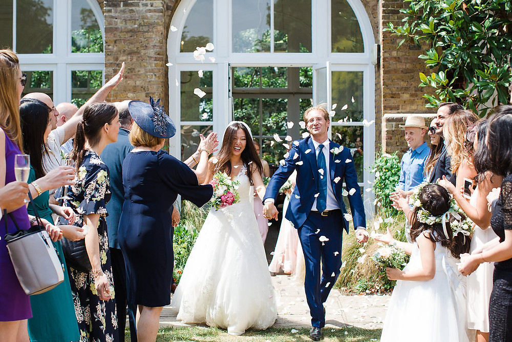 Confetti throwing at The Orangery in Holland Park