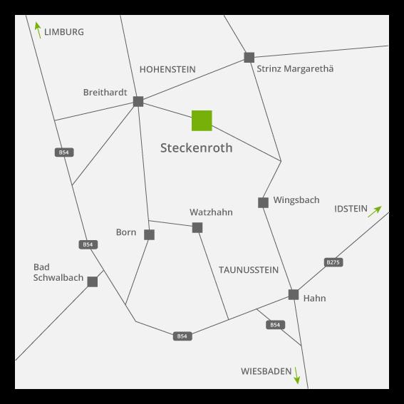 Anfahrt dtp Büro Wiedmann Hohenstein Steckenroth