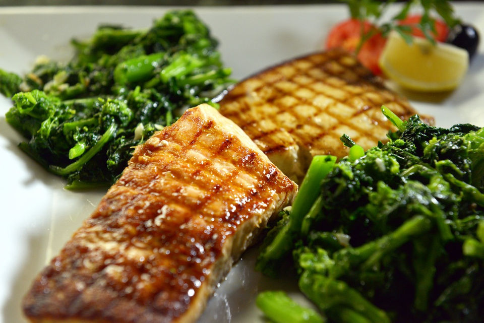 Grilled Swordfish and Salmon