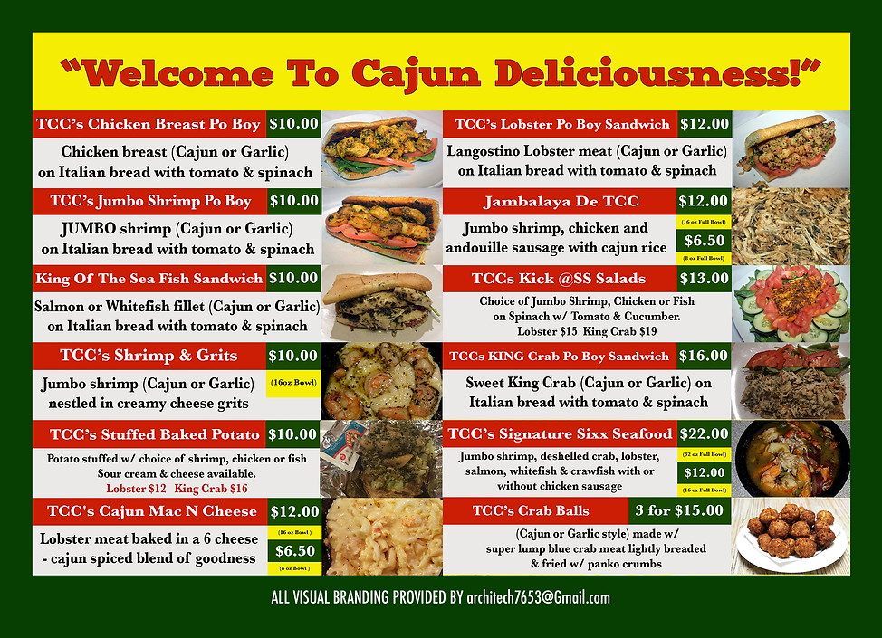 Cajun Connie  2019 - 5 x 7 Menus - Back.