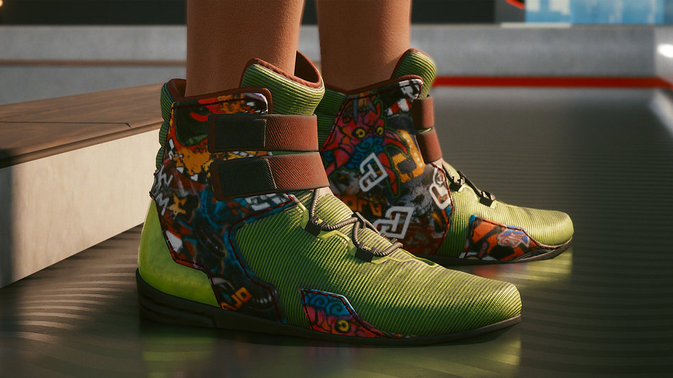 Green Graffiti Armor-Coated Athletic Shoes