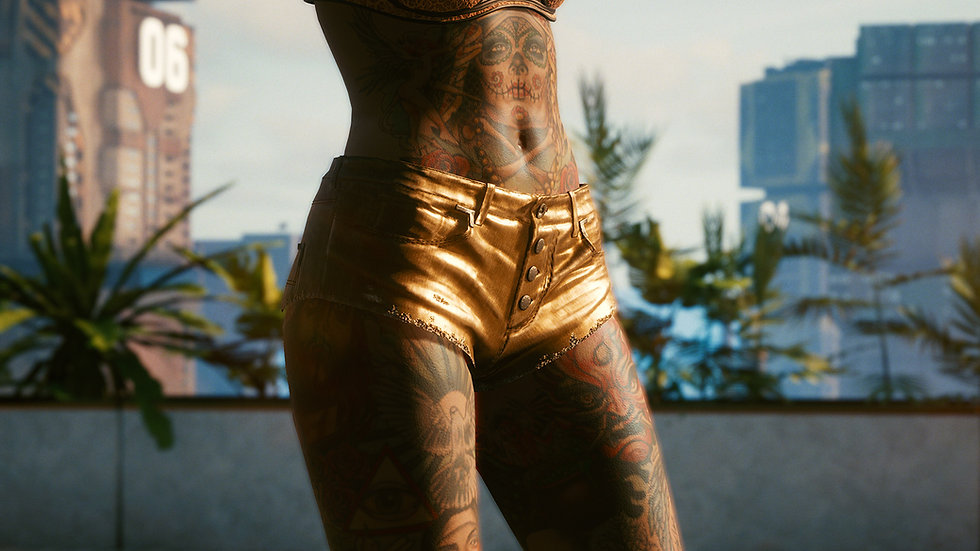 Old-Gold Tac-Fabric Duolayer Cut-Off Shorts