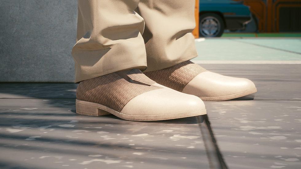Lezard Beige Leather-Composite Dress Shoes