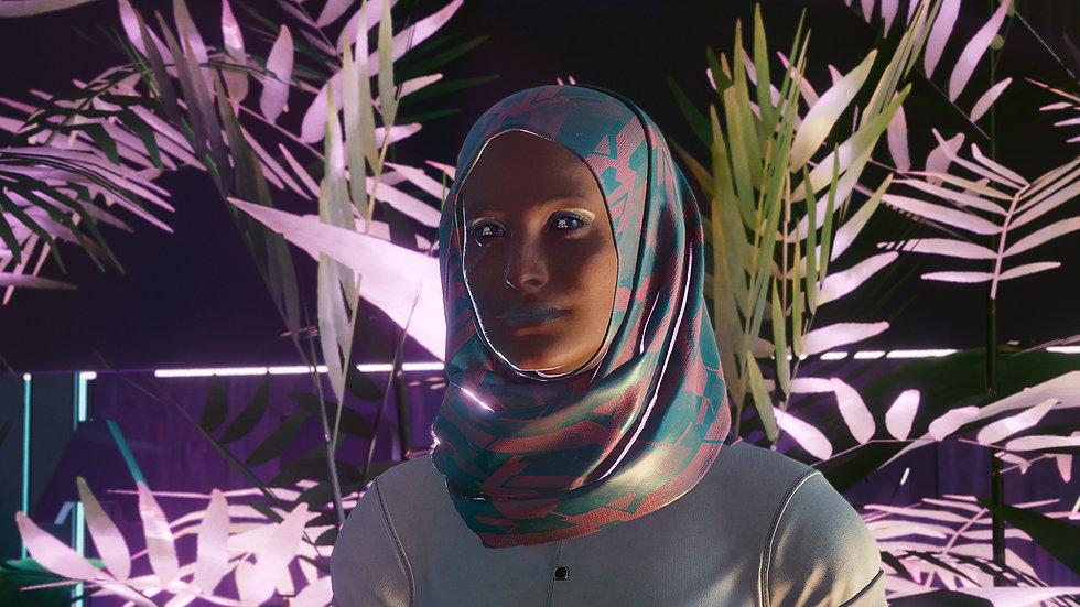 Light Hijab with Microplate Mesh