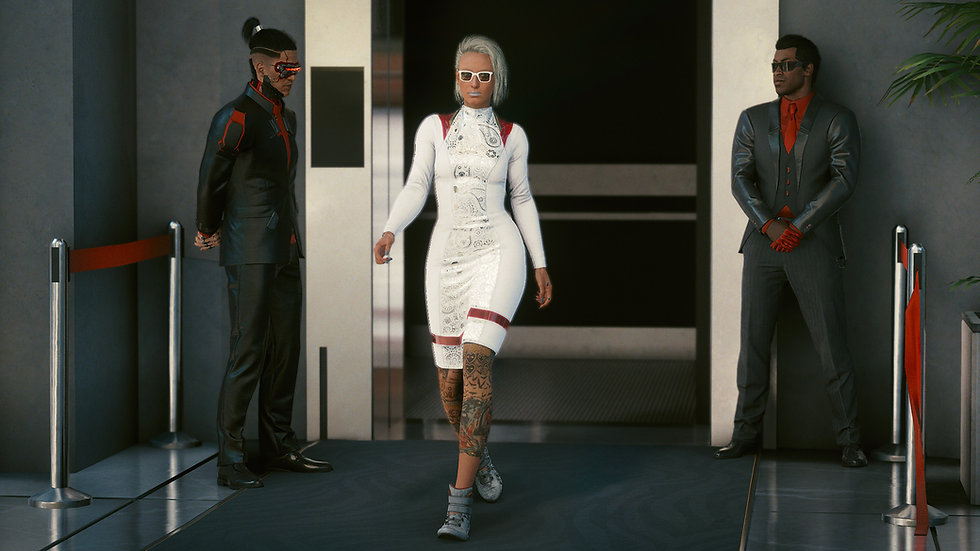 Lady in White Hybrid-Weave Pencil Dress