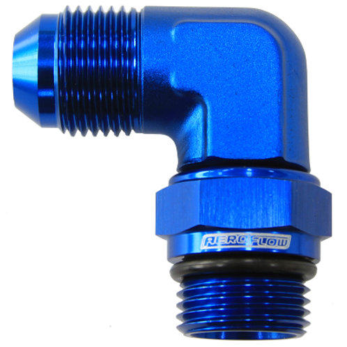AEROFLOW 90 Deg ORB Swivel to Male Flare Adapter -12 to -12