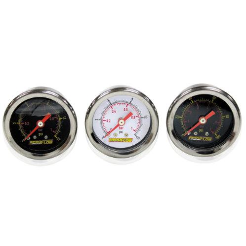 """AEROFLOW 1-1/2"""" Liquid Filled 100 psi Pressure Gauge"""
