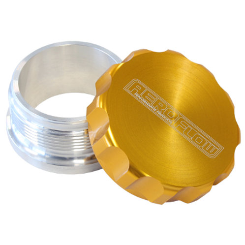 "AEROFLOW 2-1/2"" Billet Aluminium Weld-On Filler with Gold Cap"
