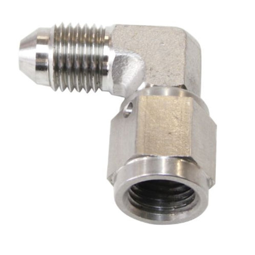 AEROFLOW 90 Deg Stainless Steel Male to Female Fitting -3AN