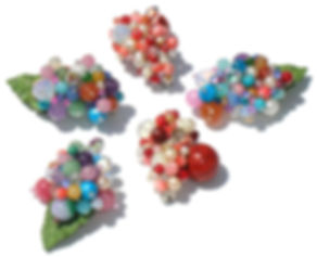 semiprecious stone brooches by Space Mermaid