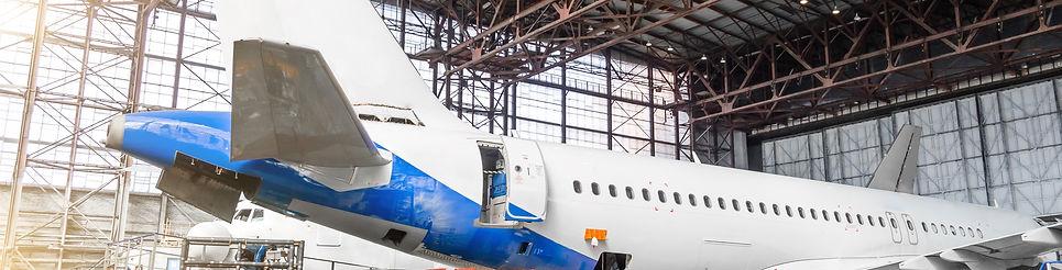 Passenger aircraft on maintenance of eng