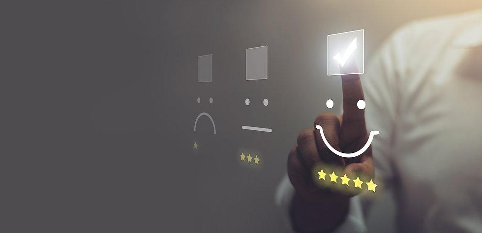 Businessman pressing smiley face emoticon on virtual touch screen. Customer service evalua
