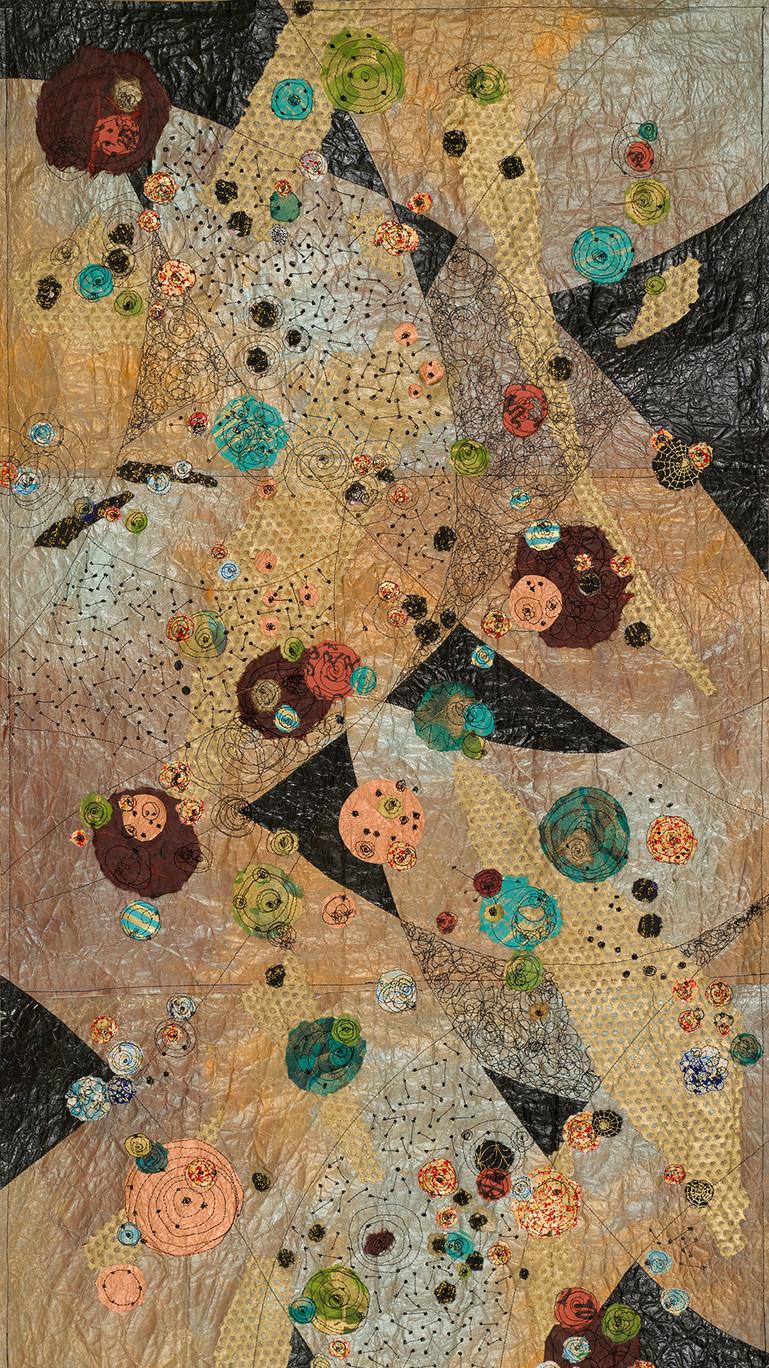 "Universe Unhinged, 50""X28"" Machine stitching, paper detritus, acrylic, watercolor 2018"