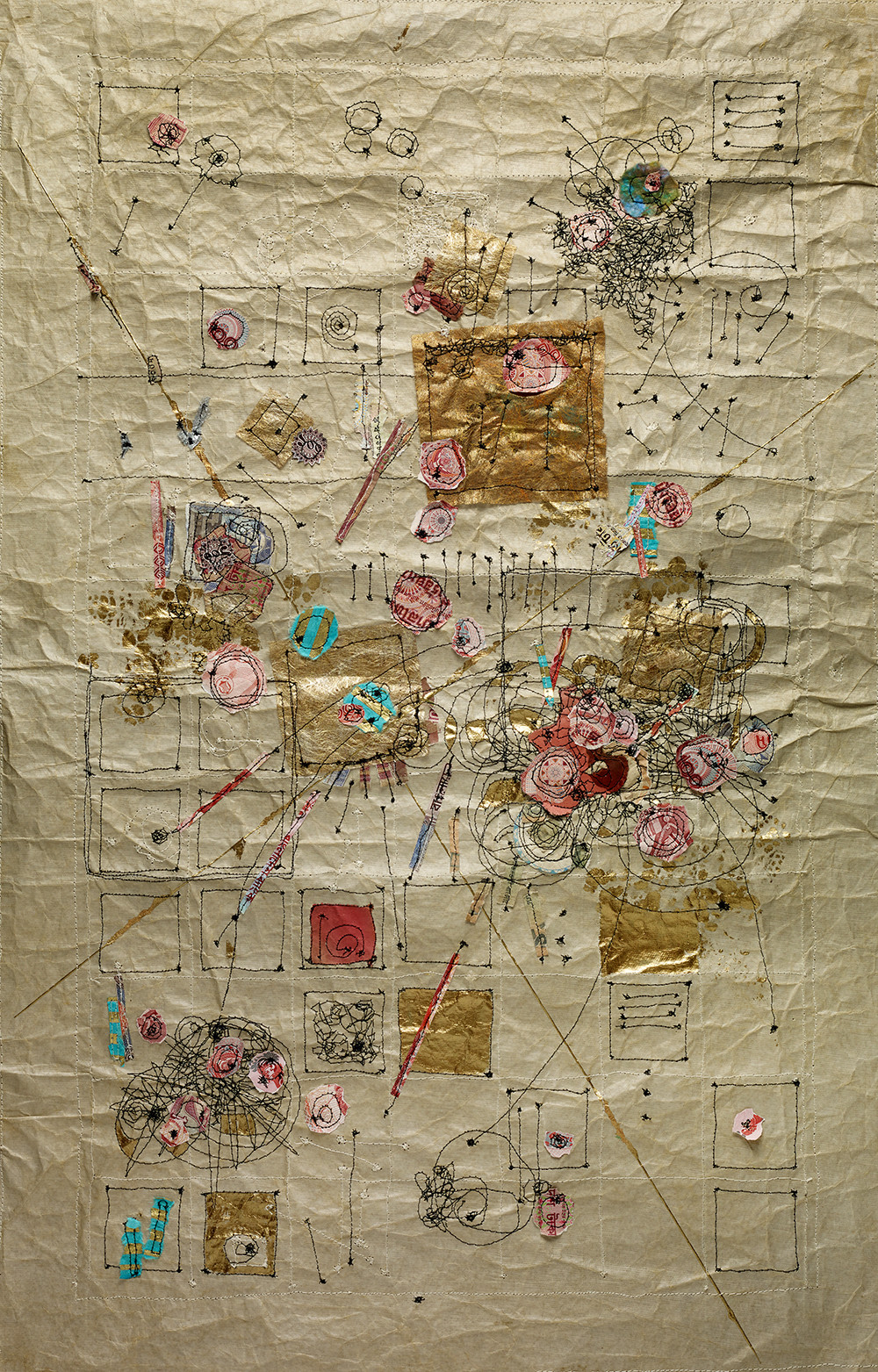 "Inner Dialog, 28""X18"" Machine stitching, paper detritus, acrylic, watercolor 2017"