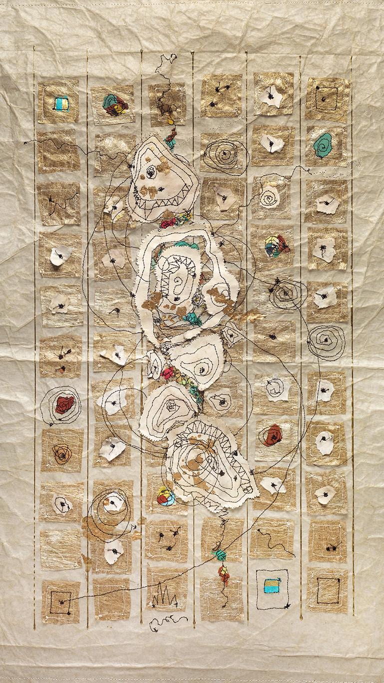 "Artifacts, 28""X18"" Machine stitching, paper detritus, acrylic, watercolor 2017"