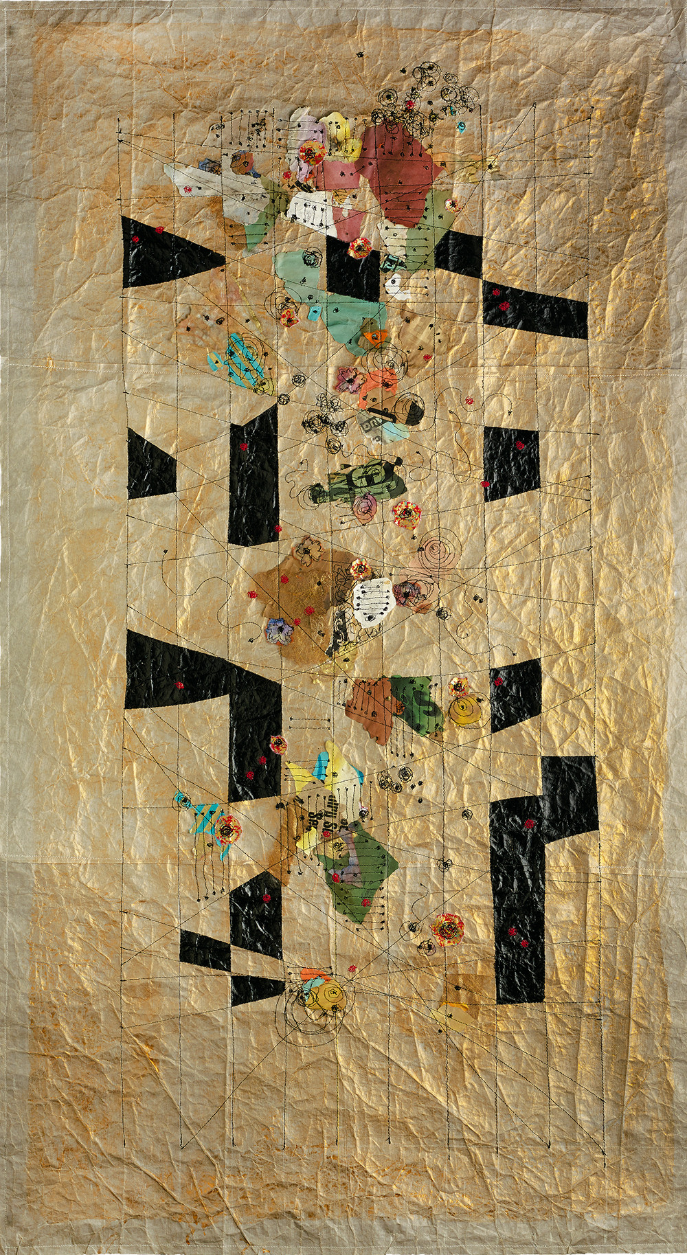 """Global Connection, 50""""X28"""" Machine stitching, paper detritus, acrylic, watercolor, satin chording 2018"""