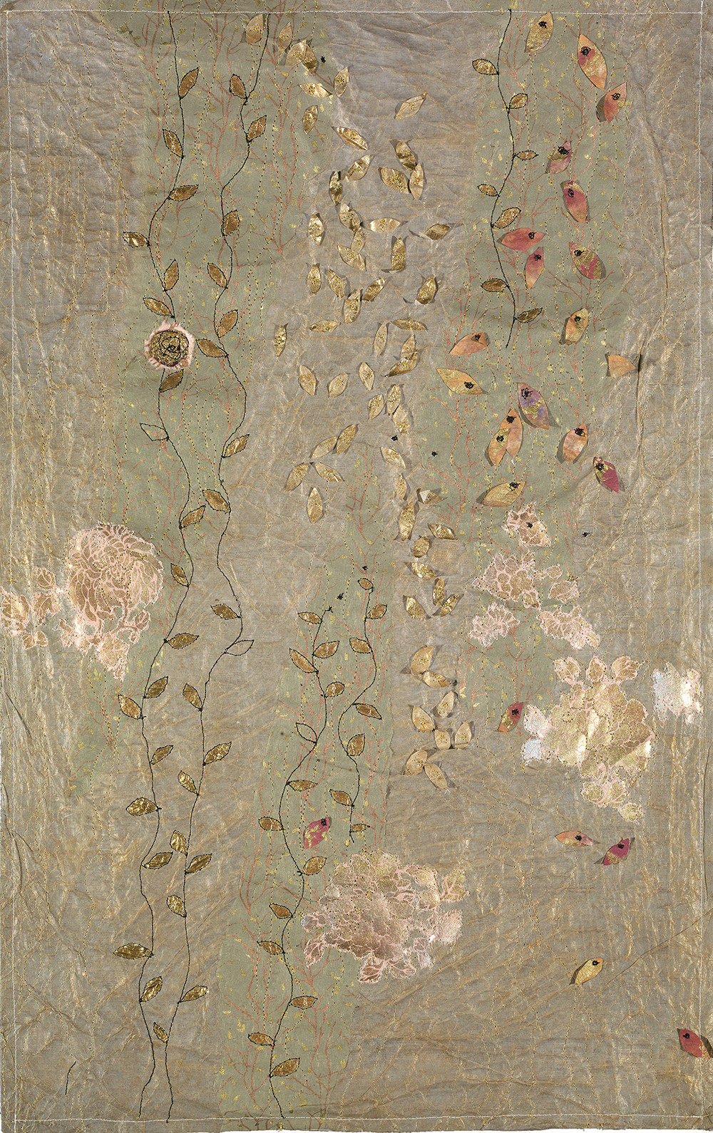 """Flowers with Leaves Falling, 28""""X18"""" Machine stitching, paper detritus, acrylic, 2017"""