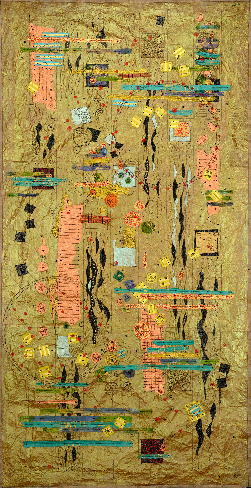 "Reef Reverie, 50""X28"" Machine stitching, paper detritus, acrylic, watercolor, 2018"