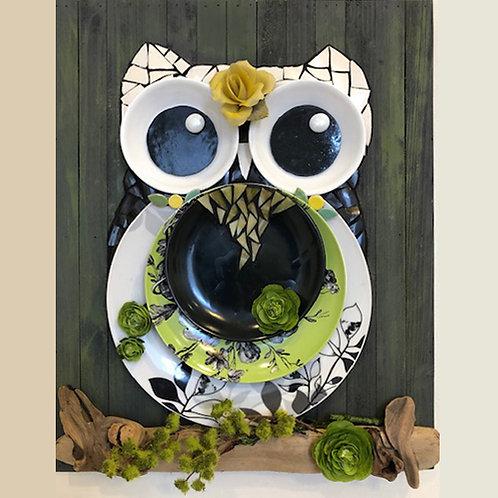 Green Owl Plate Wall Mosaic