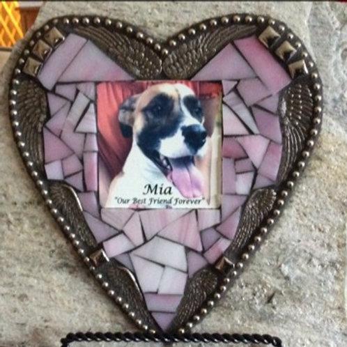 Pet Memorial Stone Heart w/ Photo