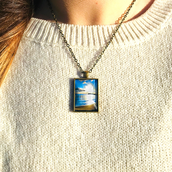 Sunset on Spiddal Prom | Fine Art Glass Pendant Necklace