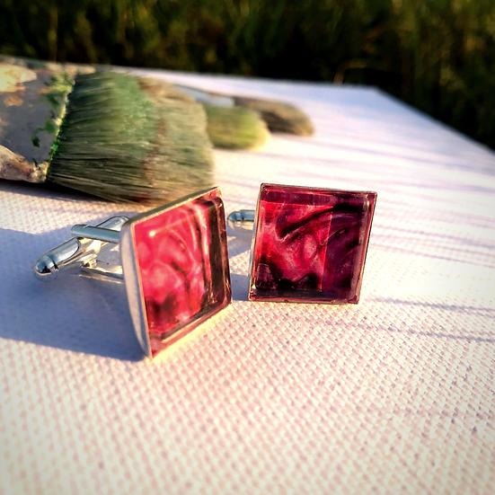 Red Cabbage | Fine Art Glass Cufflinks